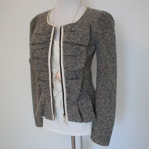 ANTHROPOLOGIE Size 4 Gray Zipper Blazer ELEVENSES